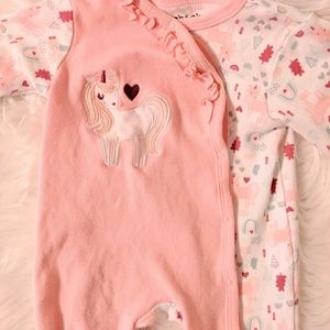 Unicorn footed sleeper with ruffle neck